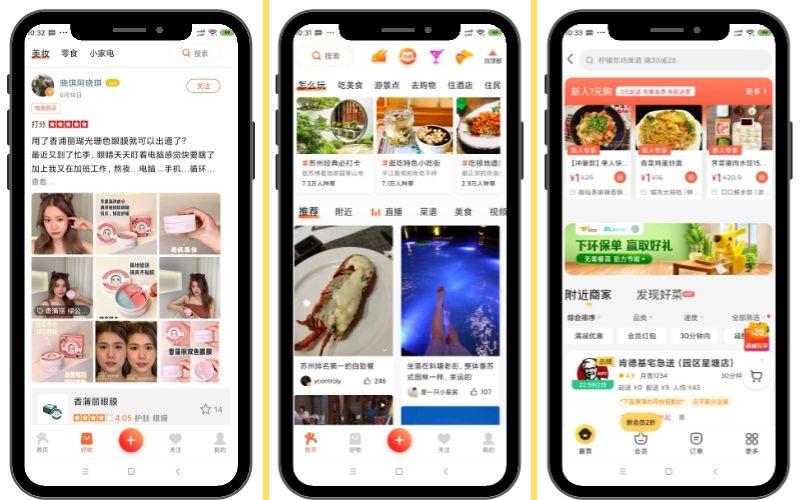 Surgieron una por inspiración de la otra. Diangping app de recomendaciones y Meitan para servicio de compra y entrega de comida a domicilio.