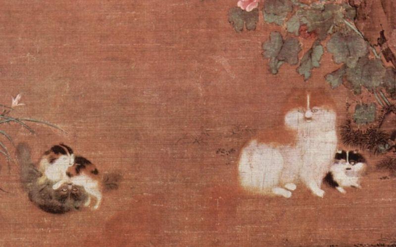 Arte Chino representación de gatos
