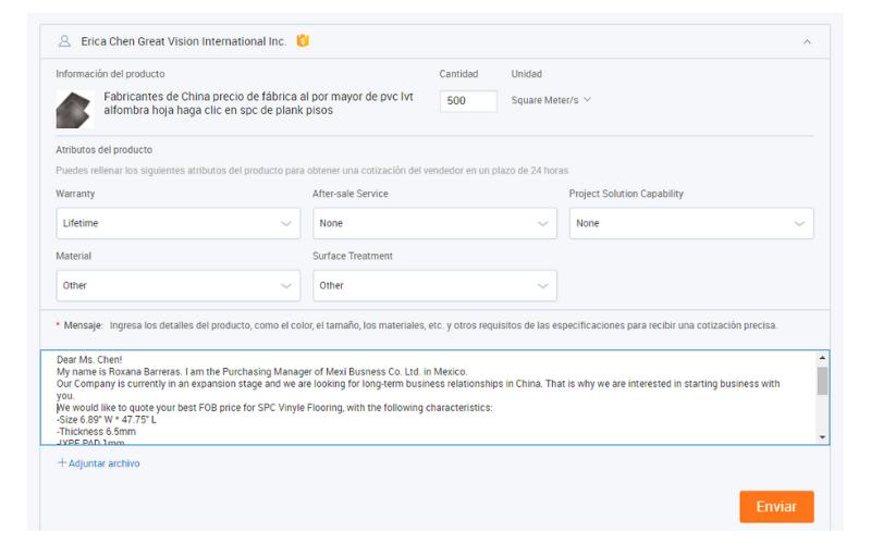 Ficha de contacto con proveedores en Alibaba.com
