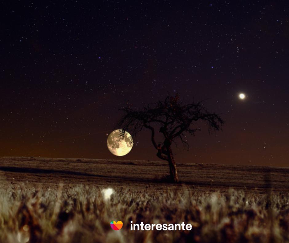 La Luna y Venus en el cielo
