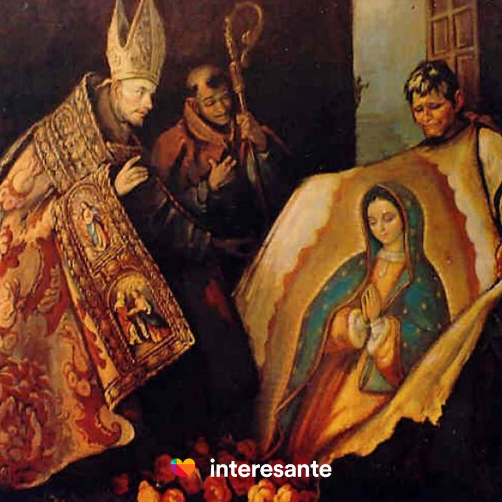 Imagen de Juan Diego con la tilma de la virgen de Guadalupe
